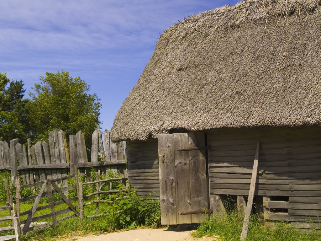 Reproduction of a 17th century English colonial hut at Plimoth Plantation Massachusetts USA