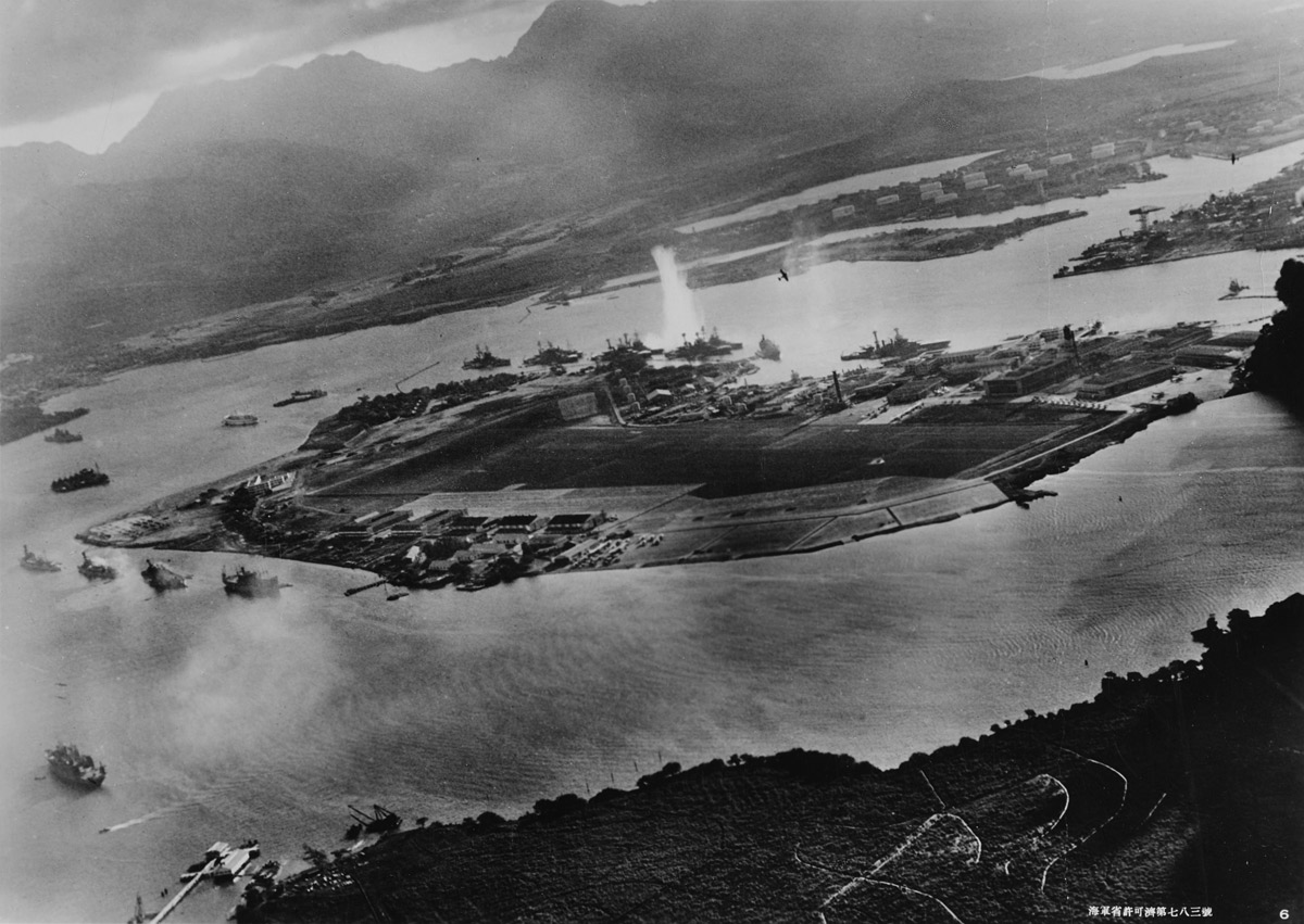Aerial view of Pearl Harbor from Japanese plane