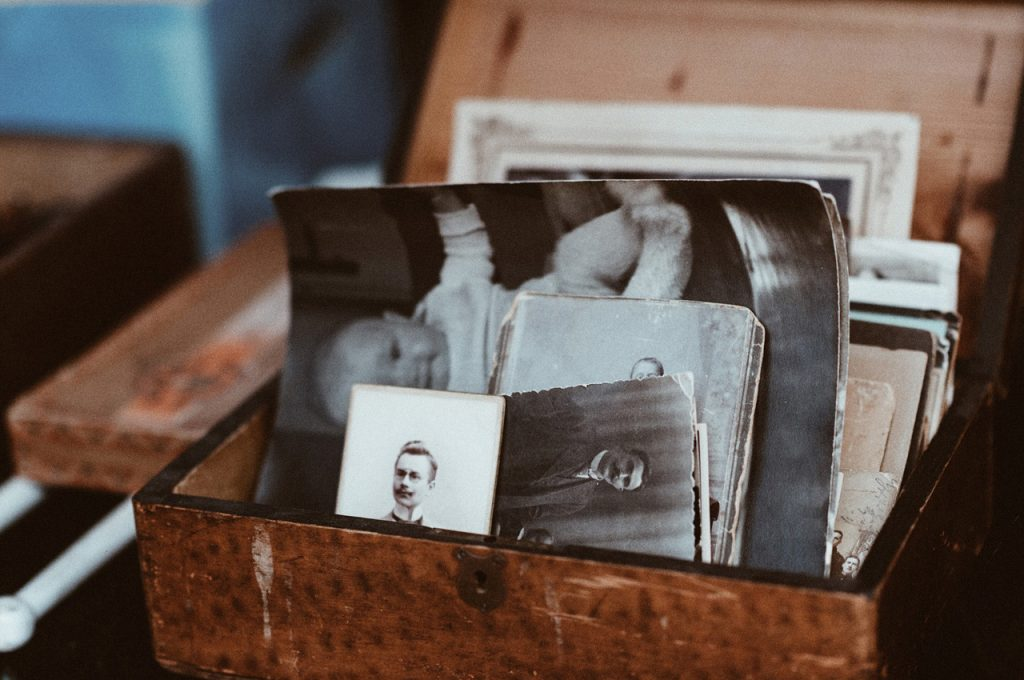 box with old photos in it
